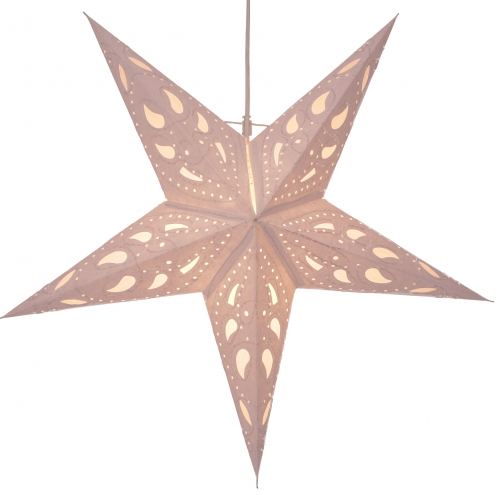 Foldable Advent illuminated paper star, Poinsettia 60 cm - Durian white