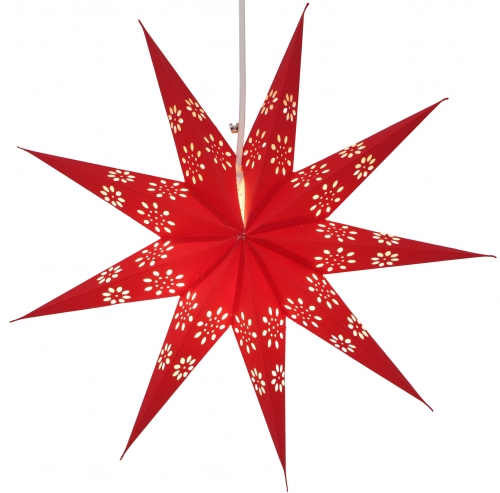 Foldable Advent illuminated paper star, Poinsettia 40 cm - Phoenix red