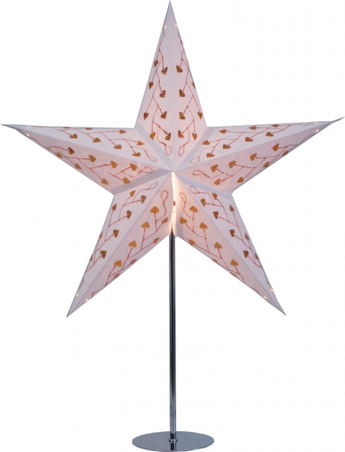 Stand for foldable Advent illuminated paper star, poinsettia stainless steel - 65x13x13 cm