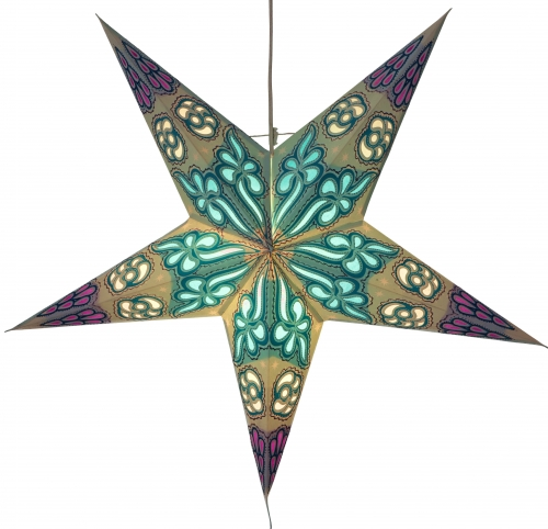 Foldable Advent illuminated paper star, Poinsettia 60 cm - Damascus