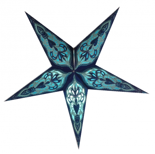 Foldable Advent illuminated paper star, Poinsettia 40 cm - Ganesha small blue