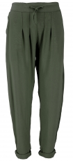 Narrow trousers, pencil pants, summer trousers - olive green