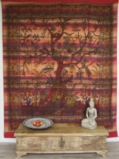 wall hanging, bedspread arbor vitae/tree of life - red
