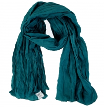 Indian cotton scarf, scarf, crinkle scarf - petrol