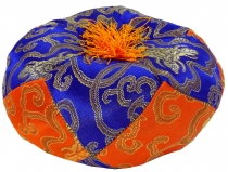 singing bowls cushion - blue/orange