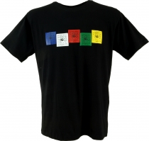 Tibet Buddhist Art T-Shirt - Prayer Flag/black