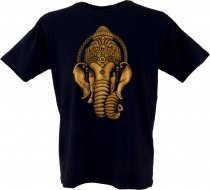 Tibet Buddhist Art T-Shirt - Golden Ganesha/black