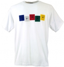 Tibet Buddhist Art T-Shirt - Prayer Flag/white