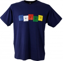 Tibet Buddhist Art T-Shirt - Prayer Flag/blue