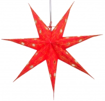Foldable Advent illuminated paper star, Poinsettia 60 cm - Agamem..
