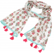 Summery indian cotton scarf with tassels, bohos scarf
