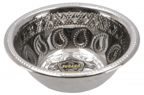Stainless steel bowl with punched Paisley decorations 14 cm