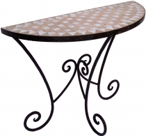 Semicircular mosaic wall table with rustic metal stand - white/na..