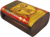 Hand painted wooden box/box with Buddha motif - red