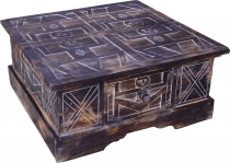 Hand carved floor table, coffee table, balsa wood chest