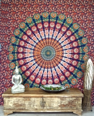 Indian mandala cloth, wall cloth, bedspread mandala print - orang..