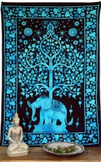 Indian wall cloth, batik bedspread - Tree of Life Elephant/turquo..