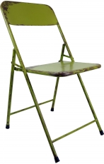 Folding chair made of tubular metal in industrial vintage design ..