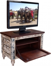 Small Plasma TV Box in colonial style TV table - white