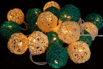 Rattan Ball LED Ball Lamp Lampion light chain - turquoise/white
