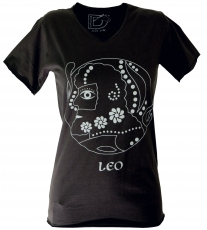 star sign T-Shirt `Leo` - black