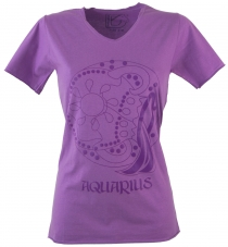 star sign T-Shirt `Aquarius` - purple