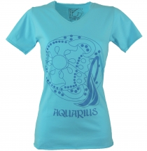 star sign T-Shirt `Aquarius` - turquoise