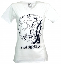 star sign T-Shirt `Aquarius` - white