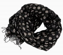 Indian cotton scarf, light scarf with gold print - black