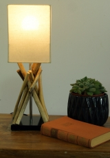 Table Lamp/Table Lamp Pamplona, driftwood, cotton, handmade in Ba..