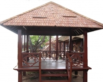 Exclusive coconut wood garden pavilion with railing stairs