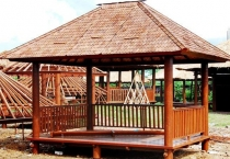 Rectangular coconut wood garden pavilion with railing stairs