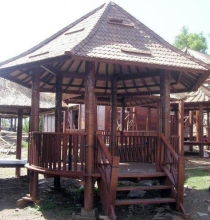 Round coconut wood garden pavilion with railing stairs