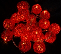 Rattan Ball LED Ball Lamp Lampion light chain - red