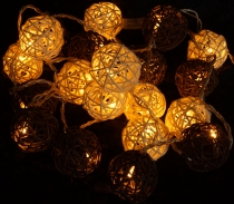 Rattan Ball LED Ball Lamp Lampion light chain - brown/white