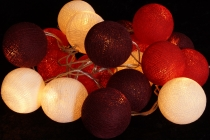 Fabric ball fairy lights LED ball lampion fairy lights - red/brow..