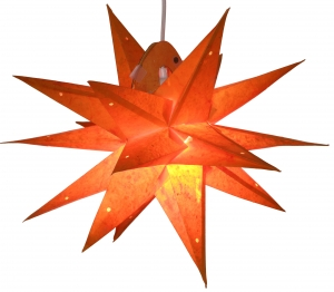 Faltbarer Advents Leucht Papierstern, 3D Weihnachtsstern - Multipointer small orange - 45x45x45 cm Ø45 cm