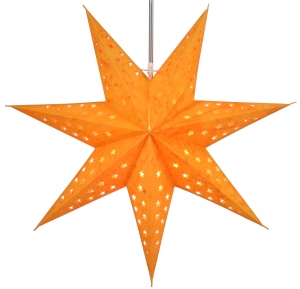 Foldable Advent illuminated paper star, Poinsettia 60 cm - Austrinus orange