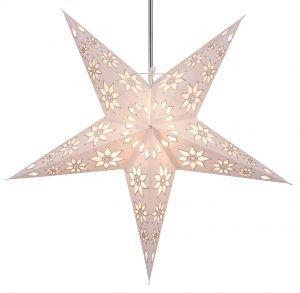 Foldable Advent illuminated paper star, Poinsettia 60 cm - Adonis white