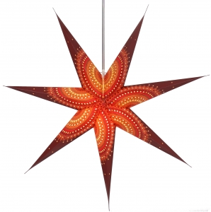 Foldable Advent illuminated paper star, Poinsettia 80 cm - Helike bordaux/mixed