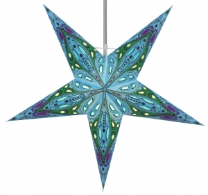 Foldable Advent illuminated paper star, Poinsettia 60 cm - Marwin turquoise