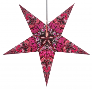 Foldable Advent illuminated paper star, Poinsettia 60 cm - Nestor light pink/purple