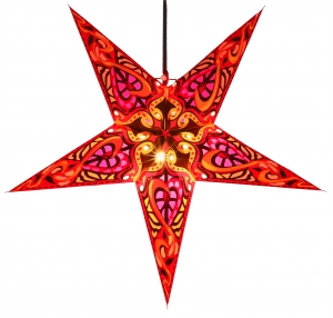 Foldable Advent illuminated paper star, Poinsettia 60 cm - Galadriel red