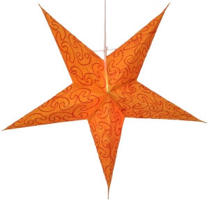 Foldable Advent illuminated paper star, Poinsettia 60 cm - Mercury orange