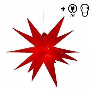 Weatherproof foldable 3D outdoor star Ø 55 cm incl. bulb, 7 m cable, popup star made of stable plastic for garden balcony - folding star red