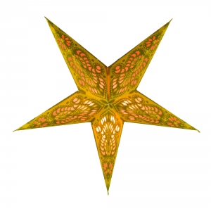 Foldable Advent illuminated paper star, Poinsettia 40 cm - Menor small yellow