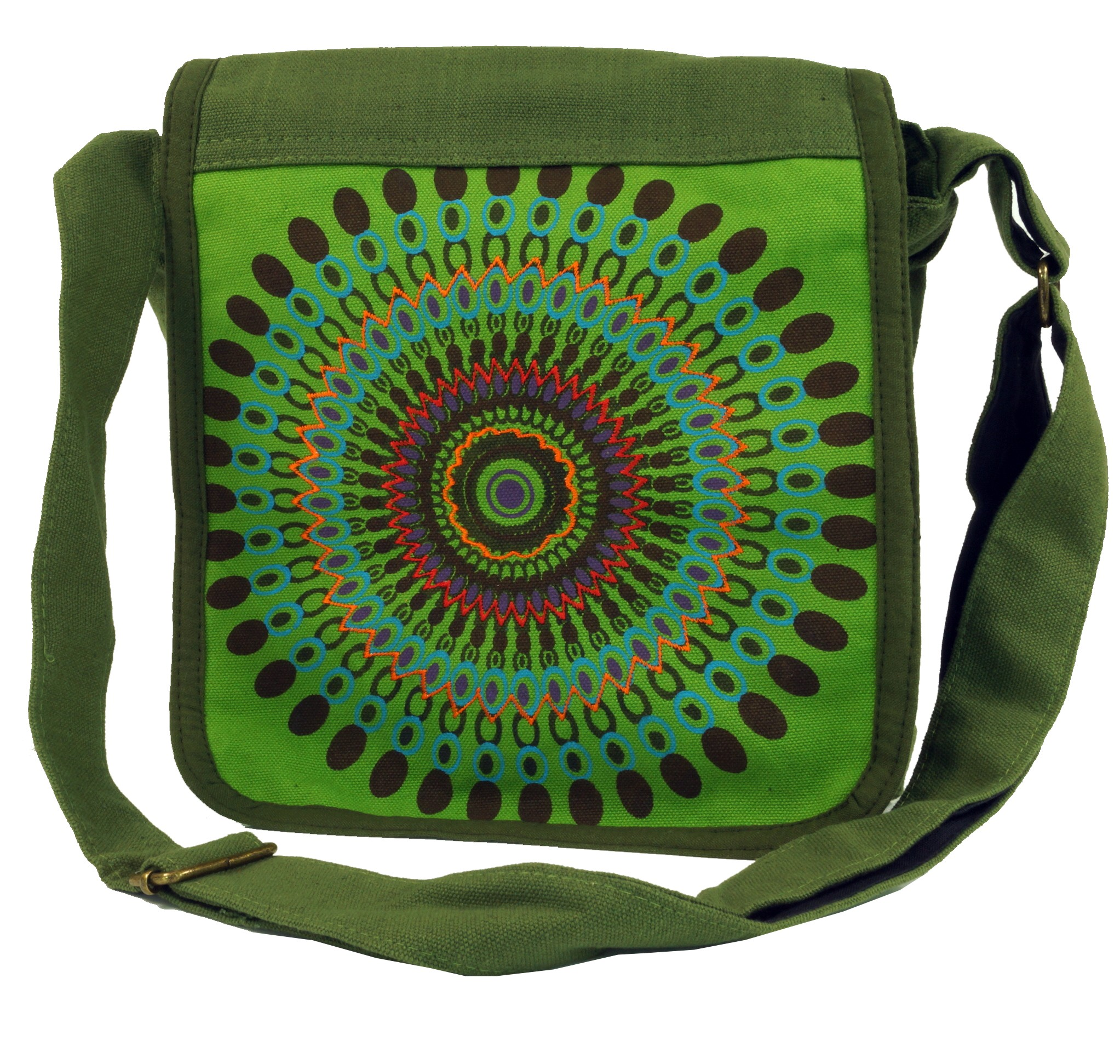 Shoulder bag, Hippie bag, Goa bag green 25x25x7 cm