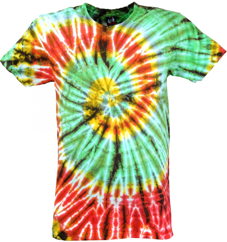 Fabulous Batik T-Shirt, Men Short Sleeve Tie Dye Shirt - light green/red Spiral BT94